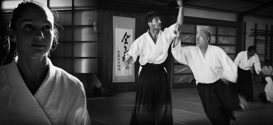 Aikidokas practicando aikido