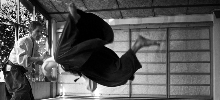 Hombre aplicando una tecnica de aikido